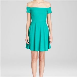 Lucy Paris Kelly Green Off the Shoulder Mini Dress